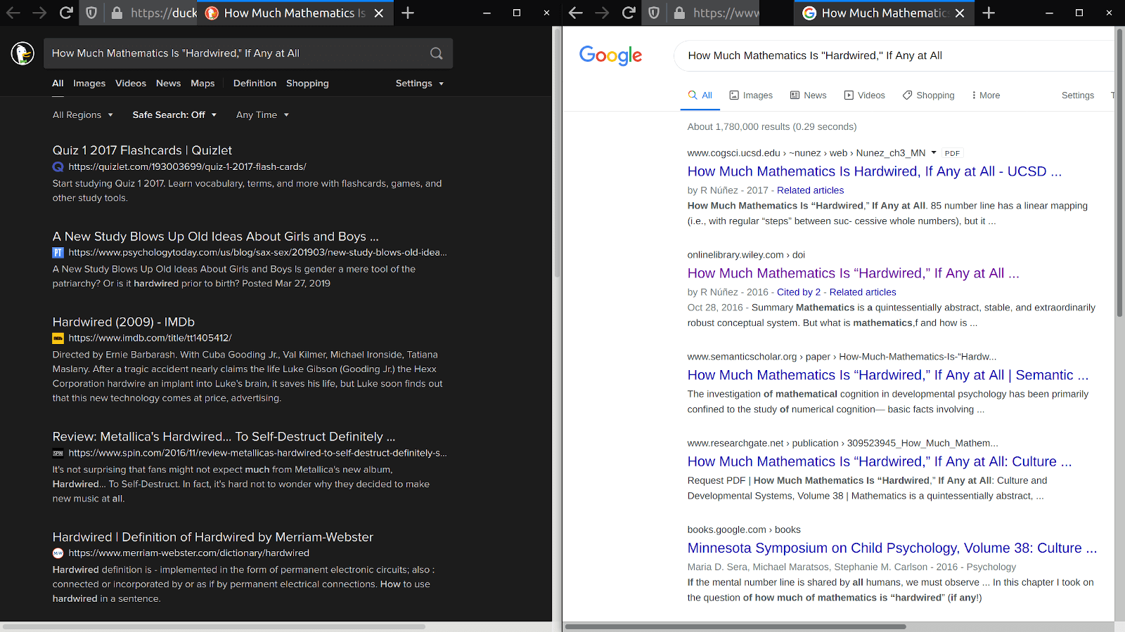 Another ddg vs google search results page